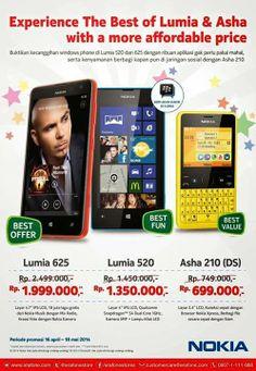 Promo Nokia Asha 210 Dual SIM, Lumia 520 dan Lumia 625 Hingga 18 Mei 2014