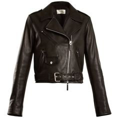 The Row Perlin leather biker jacket found on Polyvore featuring outerwear, jackets, coats & jackets, black, zipper jacket, real leather jackets, buckle leather jacket, genuine leather jackets and moto biker jacket