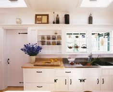 white kitchen cabinets with black handles - Google Search