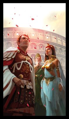 Actually, when Caesar and Cleopatra were alive, the Colosseum had not yet been built (commissioned/begun around 72 CE), but I love the painting. Caesar and cleopatra by ~MiguelCoimbra on deviantART