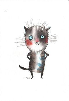 The deep thinking cat, original painting by ozozo.