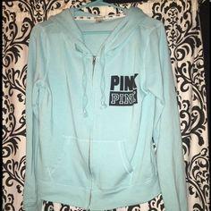 Victoria secret pink vs hoodie Size medium full zip up hoodie tiffany blue nothing wrong with item Victoria's Secret Tops Sweatshirts & Hoodies