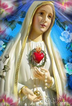 EL CORAZON DE LA VIRGEN DE FATIMA Blessed Mother Mary, Blessed Virgin Mary, Sun Worship, Mama Mary, Artwork For Home, Mary And Jesus, Online Image Editor, Angel Cards, Divine Feminine