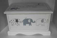 Grey Patterned Elephants  baby keepsake chest memory by staciedale, $265.00