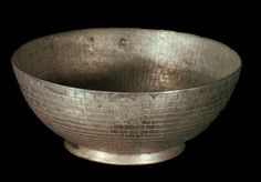 """*EGYPTIAN ~ PSUSSENES I: Silver Mug/Cup. A decorated w/basketweave cup or bowl, carrying the cartridges of Psusennes """"First Prophet of Amun"""" is an excellent example of an elaborate silver work."""