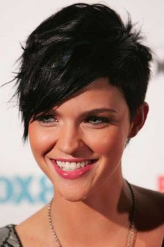 Charming Black Short Hair with Long Bangs