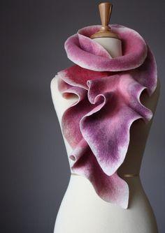 Felted scarf wool Mauve Pink Lilac felt by VitalTemptation