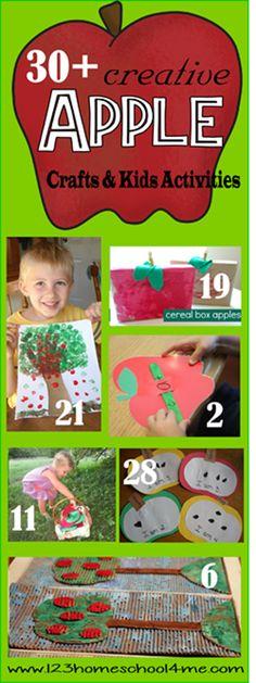 30 Apple Crafts and Kids Activities for Fall (september activities apple unit) Preschool Apple Theme, Apple Activities, Fall Preschool, Preschool Themes, Autumn Activities, Preschool Crafts, Activities For Kids, Crafts For Kids, Toddler Preschool