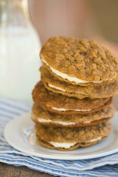 Oatmeal Cream Pies | browneyedbaker.com  These were amazing!  Used this cookie recipe with the filling from CarlsBadCravings recipe