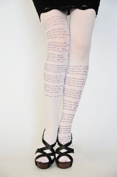 White Tights With Text (poem), Trend Leggings, Opaque Hand Printed Tights.  Poem of Russian lyrical poet Sergei Yesenin.