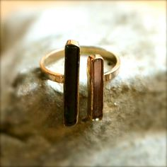 gold black + pink tourmaline ring.