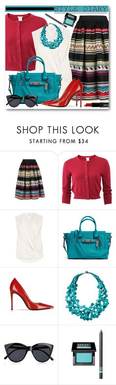 """""""Turquoise & Red"""" by brendariley-1 ❤ liked on Polyvore featuring Oscar de la Renta, River Island, Coach, Barbara Bui, TravelSmith, Le Specs, Make and Lord & Berry"""