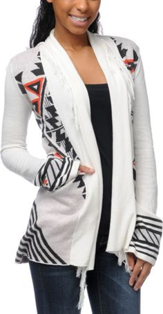 BILLABONG  Billabong Girls Issah Tie Native Print White Cardigan Sweater $69.95
