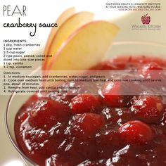 Thanksgiving Wellness Kitchen Recipe: PEAR CRANBERRY SAUCE - This cranberry sauce has less sugar than the traditional as the pears add a natural sweetness. Cranberries are bursting with antioxidants that help fight major diseases and promote longevity. Hold the mayo on those turkey sandwiches and use this instead!