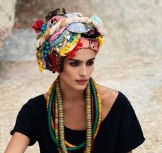 Colourful beaded necklaces and headdresses