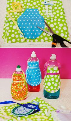 Dish soap aprons DIY. Reminds me of an apron my grandmother had on her dishsoap when I was a kid.  Good times!