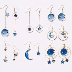 Planet Moon Star Earrings Styles) from Megoosta Fashion Star Jewelry, I Love Jewelry, Galaxy Jewelry, Cute Earrings, Dangle Earrings, Moon And Star Earrings, Accesorios Casual, Michael Kors Rose Gold, Aquamarine Jewelry