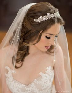 6675 Tie headband with opaque and clear rhinestones ***Available for order at A Curvy Bride***