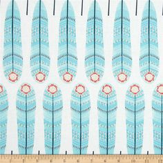 Petite Plume Fan Feathers White from @fabricdotcom  Designed by Andrea Turk and Cinnamon Joe Studio for Camelot Fabrics, this cotton print fabric is perfect for quilting, apparel and home decor accents. Colors include blue, navy, coral red and white.
