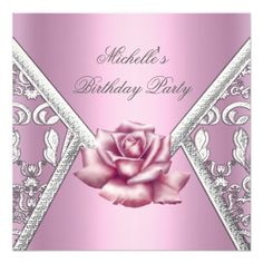 Birthday Party Pink Rose Damask Silver Image Invitations