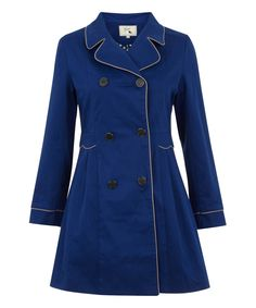 41d76aa9c85 Look at this  zulilyfind! Yumi Blue Double-Breasted Trench Coat by Yumi