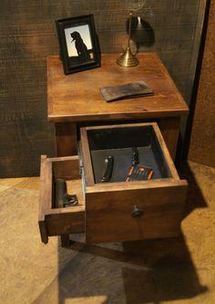 Custom Reclaimed Wood Side Table with Hidden by TheShopatRockCreek