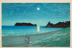 1930 - Hasui, Kawase - Sôshû. Shichirigahama. Walking the dog on the beach.