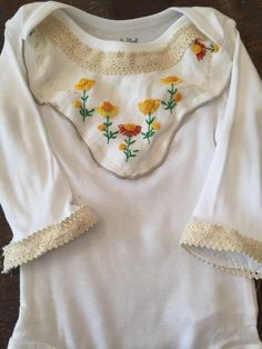 3-6 months fall shabby chic onesie crochet trim by LilThyngCrafts