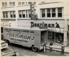 Asheville NC- Pearlman's Furniture Store at 56 Haywood Street as it appeared in the 1950's. Bon Marche Store for Homes at 48-52 Haywood Street is seen to the left.