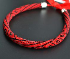 beaded harness red necklace Beaded crochet plait Bead Crochet Beaded jewelry Crochet necklace office necklace gift for her evening necklace by Ukrashulki on Etsy Bead Crochet Patterns, Bead Crochet Rope, Beading Patterns, Beaded Crochet, Crochet Necklace, Beaded Necklace, Beaded Bracelets, Seed Bead Jewelry, Beaded Jewelry