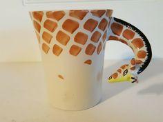 Giraffe Coffee Mug Pier 1 Imports Hand Painted Stoneware Animal Wide Mouth Big 16 Oz Coffee Mugs, Large Coffee Mugs, Black Coffee Mug, Funny Coffee Mugs, Coffee Humor, Tea Mugs, Coffee Cups, Giraffe Mug, Giraffe Neck
