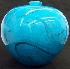 Hand Blown Glass Art Turquoise Marble vase 3316 by Stan O'Nail