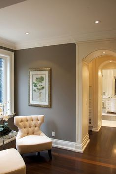 """wood work from family room to living room,,,Gray Paint Color Ideas. Similar Gray Paint Color: """"Benjamin Moore Storm Grey Paint Colors, Interior Paint Colors, Gray Paint, Room Colors, House Colors, Wall Colors, Home Interior, Interior Design, Interior Walls"""