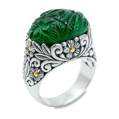 Carved Evergreen Hydro Quartz Ring Set in Sterling Silver & 18K Gold A | Cirque Jewels