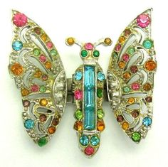 Vintage Coro Craft Figural Butterfly Clip Pin Rhinestones