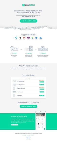 "Landing page for new app 'Cloudetect' that helps you locate important documents ""buried"" in your cloud services."