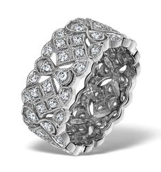 Wide Diamond Eternity Ring - ArtDeco - 1.02ct in 18K White Gold. #thediamondstoreuk #ring #diamonds #jewellery #sparkle #bling #vintage