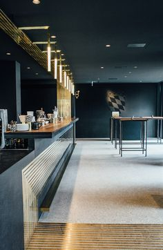 Set against the matte black that swathes the walls of Munich's Herzog Bar and Restaurant, the brass veins that run across the floor and onto the bar's wall offer warmth and a timeless elegance.