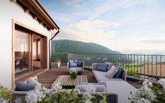 Dachterrasse im 2. Obergeschoss: Rustikal Terrasse von von Mann Architektur GmbH