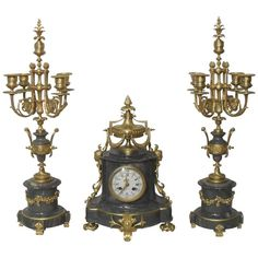 French 19th Century Marble and Bronze Gilt Clock Set | From a unique collection of antique and modern clocks at https://www.1stdibs.com/furniture/decorative-objects/clocks/