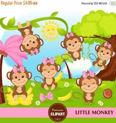Monkey clipart set! Incredibly useful for kids party invitations, birthday decor, cards, birthday scrapbooking, custom party invitations, greeting cards and anything else you can think of! --------------------------------- CONTINUE SHOPPING HERE https://www.etsy.com/shop/Premiumclipart --------------------------------- * YOU WILL RECEIVE: --------------------------------- - This collection includes 20 clipart elements + DIGITAL BACKGROUND - Each clipart saved separately i...