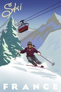 Ski France by McNair Art Print Skiing Vintage Retro Travel French Poster Ski Vintage, Vintage Ski Posters, Look Vintage, Vintage Art, Retro Posters, Ski France, France Art, France Winter, France Travel