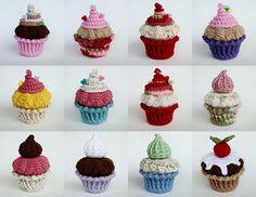 Ravelry: Amiguria's Amigurumi Cupcake by Amiguria Crochet Cake, Crochet Eyes, Crochet Fruit, Crochet Wool, Cute Crochet, Crochet For Kids, Crochet Crafts, Yarn Crafts, Crochet Projects