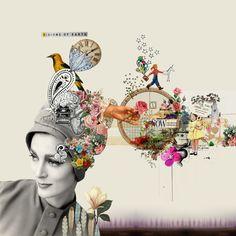 © Amalia Pereira #collage #flowers #hat