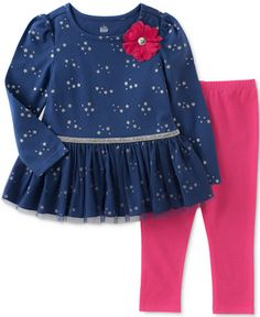 Kids Headquarters Star-Print Tunic & Leggings Set, Toddler & Little Girls - Blue 6 Cute Girl Dresses, Cute Baby Girl Outfits, Toddler Outfits, Kids Outfits, Toddler Girls, Baby Girls, Girls 4, Tunic Leggings, Pink Leggings
