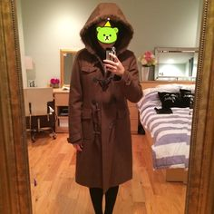 Theory wool fur hood winter coat!! Theory wool coat with padded lining and rabbit fur hood. Four horn closures in the front (all intact) and fur hood is like new. Comes below the knee (I'm 5'6) and warm - perfect for the upcoming winter. Color is a beautiful brown - highly recommend this purchase as its in almost new condition (I wore only once or twice)! Theory Jackets & Coats Pea Coats