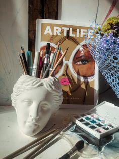 Venus de Milo. Plaster Bust. Cool Gadgets To Buy, Antique Desk, Works With Alexa, Naive Art, Yellow Painting, Desk Organization, Book Photography, Pen Holders, Vases Decor