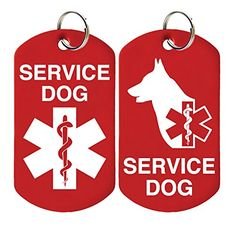 2 Service Dog ID Tags  Includes up to 4 Lines of Customized Text on Back -- You can get more details by clicking on the image.