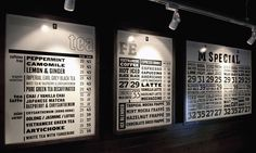 menu boards... simple black and white