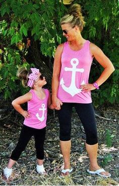 Matching mother and daughter outfit - Tank top with anchor picture. Wear the tops with leggins and runners fora fitness photo op. $8.30 - $10 from Aliexpress
